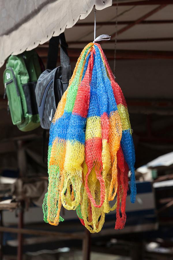 Senegal, Saint Louis.  Plastic Mesh Bags at Bus and Taxi Station.