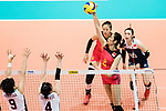 Wing spiker Ting Zhu of China (R) spikes the ball during the FIVB Volleyball World Grand Prix match between China vs Japan on July 21, 2017 in Hong Kong, China. Photo by Marcio Rodrigo Machado / Power Sport Images