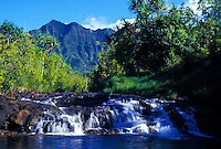 Silver Falls  with mountains in background