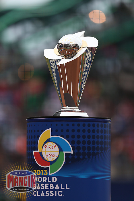 SAN FRANCISCO - MARCH 19:  The World Baseball Classic trophy sits on the field before the WBC final game between Puerto Rico and the Dominican Republic at AT&T Park on March 19, 2013 in San Francisco, California. (Photo by Brad Mangin)
