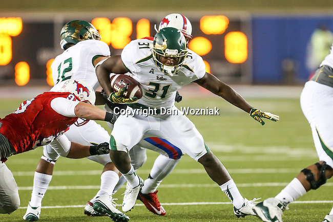 South Florida Bulls running back Darius Tice (31) in action during the game between the South Florida Bulls and the SMU Mustangs at the Gerald J. Ford Stadium in Fort Worth, Texas. SMU leads USF 13 to 0 at halftime.