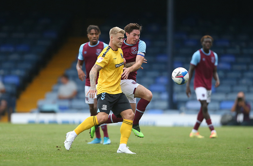 Southend United's Stephen Humphrys and West Ham United's Conor Coventry<br /> <br /> Photographer Rob Newell/CameraSport<br /> <br /> EFL Trophy Southern Section Group A - Southend United v West Ham United U21 - Tuesday 8th September 2020 - Roots Hall - Southend-on-Sea<br />  <br /> World Copyright © 2020 CameraSport. All rights reserved. 43 Linden Ave. Countesthorpe. Leicester. England. LE8 5PG - Tel: +44 (0) 116 277 4147 - admin@camerasport.com - www.camerasport.com