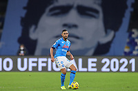 Faouzi Ghoulam of SSC Napoli in action with a giant picture of Diego Armando Maadona behind him prior to the Italy Cup football match between SSC Napoli and Empoli FC at stadio Diego Armando Maradona in Napoli (Italy), January 13, 2021. <br /> Photo Cesare Purini / Insidefoto