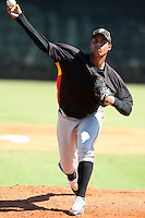 Pittsburgh Pirates minor league pitcher Yhonatan Herrand (34) vs. the New York Yankees in an Instructional League game at the New York Yankees Minor League Complex in Tampa, Florida;  October 8, 2010.  Photo By Mike Janes/Four Seam Images
