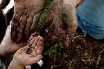 My husband and older son, almost four years old, examine a worm as they plant flowers together in our yard.
