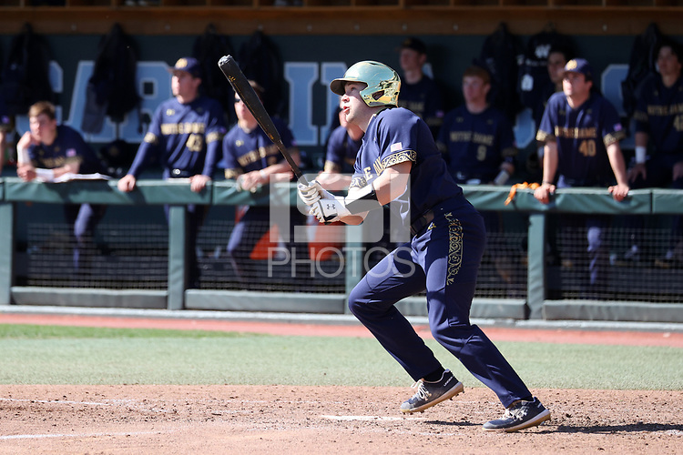 CHAPEL HILL, NC - MARCH 08: Carter Putz #4 of the University of Notre Dame hits the ball during a game between Notre Dame and North Carolina at Boshamer Stadium on March 08, 2020 in Chapel Hill, North Carolina.