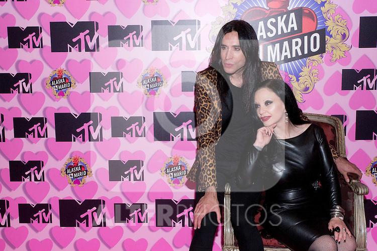 Hotel Emperador. Madrid. Spain. MTV Spain presents the new season of the reality 'Alaska and Mario'. In the picture: Mario Vaquerizo and Alaska. March, 15, 2012..(Alterphotos/Marta Gonzalez)