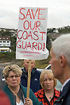 Campaigners meet the Coastguard Agency's Chief executive  Sir Alan Massey over the planned closure of Swansea Coadtguard Station. The protesters are pictured at the entrance the Tutt headland station in the Limeslade district of Swansea..