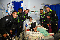 Pictured: (L-R) Ben Cabango, Nathan Dyer, Kristoffer Peterson, Wayne Routledge, Mike van der Hoorn of Swansea City at Morriston Hospital, Swansea, Wales, UK. Thursday 19 December 2019