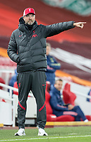 1st October 2020; Anfield, Liverpool, Merseyside, England; English Football League Cup, Carabao Cup, Liverpool versus Arsenal; Liverpool manager Jurgen Klopp issues instructions to his players