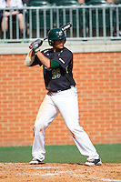 Logan Sherer (25) of the Charlotte 49ers at bat against the Canisius Golden Griffins at Hayes Stadium on February 23, 2014 in Charlotte, North Carolina.  The Golden Griffins defeated the 49ers 10-1.  (Brian Westerholt/Four Seam Images)