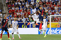 Harrison, NJ - Friday July 07, 2017: Romell Quioto, Yeltsin Tejeda during a 2017 CONCACAF Gold Cup Group A match between the men's national teams of Honduras (HON) vs Costa Rica (CRC) at Red Bull Arena.