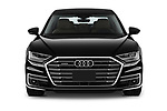 Car photography straight front view of a 2019 Audi A8-L Avus-Extended 4 Door Sedan Front View