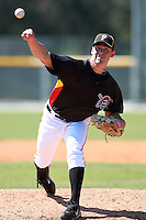 Pittsburgh Pirates minor league pitcher Brandon Cumpton (46) vs. the Philadelphia Phillies in an Instructional League game at Pirate City in Bradenton, Florida;  October 6, 2010.  Photo By Mike Janes/Four Seam Images