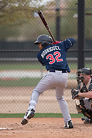 Cleveland Indians right fielder Johnathan Rodriguez (32) during a Minor League Spring Training game against the Chicago White Sox at Camelback Ranch on March 16, 2018 in Glendale, Arizona. (Zachary Lucy/Four Seam Images)