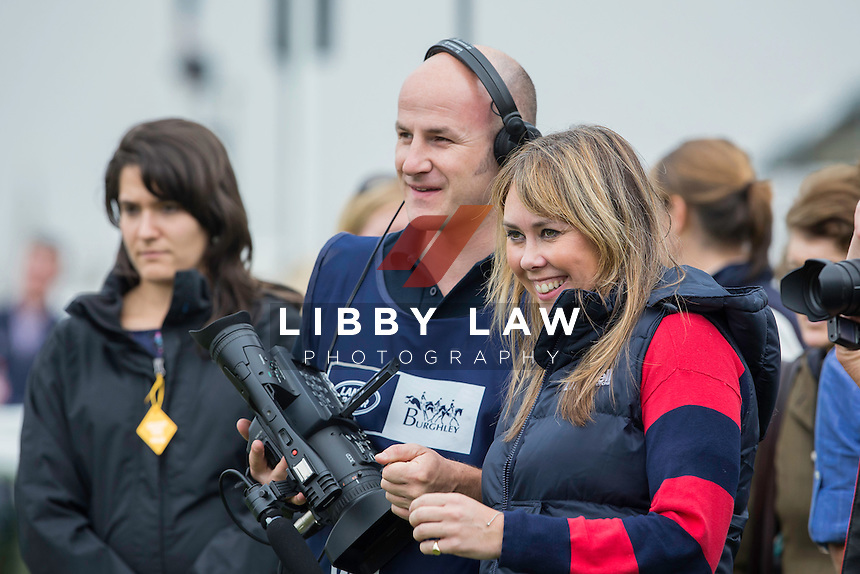 THE PRESS AWAIT: NZL-Andrew Nicholson (AVEBURY) INTERIM-4TH: SECOND DAY OF DRESSAGE: 2014 GBR-Land Rover Burghley Horse Trial (Friday 5 September) CREDIT: Libby Law COPYRIGHT: LIBBY LAW PHOTOGRAPHY - NZL