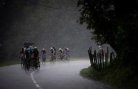 leader group forcing their way through the torrential rain <br /> <br /> Stage 7: Saint-Genix-les-Villages to Pipay  (133km)<br /> 71st Critérium du Dauphiné 2019 (2.UWT)<br /> <br /> ©kramon
