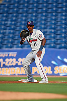 Fort Myers Miracle first baseman Lewin Diaz (11) holds a runner on during a game against the Clearwater Threshers on May 31, 2018 at Spectrum Field in Clearwater, Florida.  Clearwater defeated Fort Myers 5-1.  (Mike Janes/Four Seam Images)