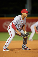Syracuse Chiefs third baseman Adrian Sanchez (7) during a game against the Buffalo Bisons on July 6, 2018 at Coca-Cola Field in Buffalo, New York.  Buffalo defeated Syracuse 6-4.  (Mike Janes/Four Seam Images)