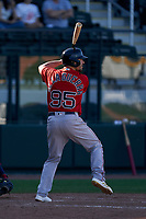 Boston Red Sox Chad De La Guerra (95) bats during a Major League Spring Training game against the Atlanta Braves on March 7, 2021 at CoolToday Park in North Port, Florida.  (Mike Janes/Four Seam Images)