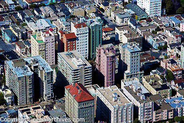 aerial photograph apartment buidlings between the Pacific Heights and Russian Hill neighborhoods, San Francisco, California
