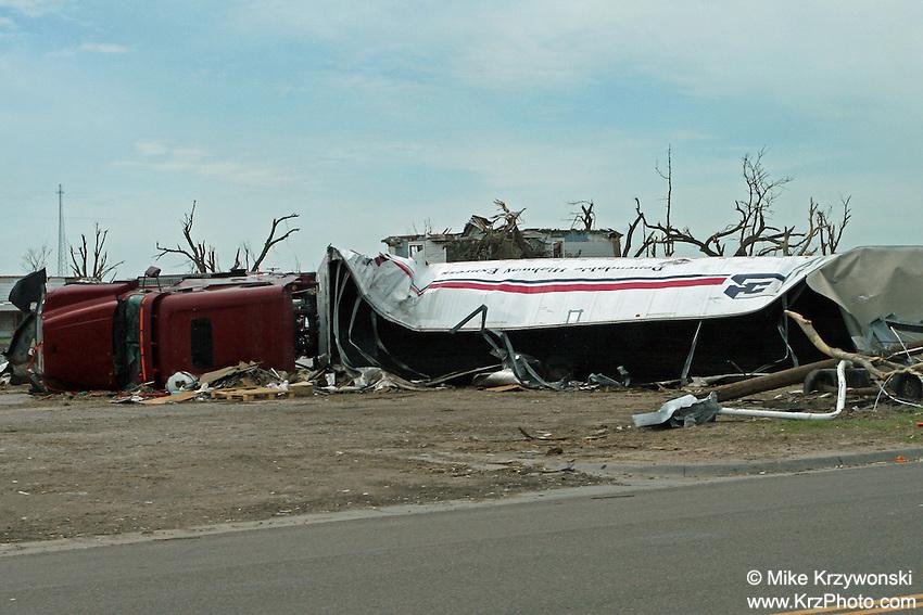 Rolled semi truck among F5 tornado damage in Greensburg, KS, May, 2007