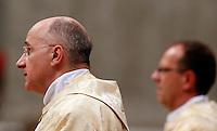 I due nuovi vescovi, il francese Monsignor Jean-Marie Speich e l'italiano Monsignor Giampiero Gloder, a destra, durante la messa di ordinazione episcopale celebrata dal Papa nella Basilica di San Pietro, Citta' del Vaticano, 24 ottobre 2013.<br /> New bishops Monsignor Jean-Marie Speich, of France, and Monsignor Giampiero Gloder, right, during an episcopal ordination mass attended by the Pope in St. Peter's Basilica at the Vatican, 24 October 2013.<br /> UPDATE IMAGES PRESS/Riccardo De Luca<br /> <br /> STRICTLY ONLY FOR EDITORIAL USE