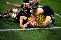 Dane Coles scores during the Super Rugby Aotearoa match between the Hurricanes and Chiefs at Sky Stadium in Wellington, New Zealand on Saturday, 8 August 2020. Photo: Dave Lintott / lintottphoto.co.nz
