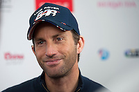 25 July 2015: Sir Ben Ainslie, skipper Land Rover BAR, looks pleased as he speaks to the media after the America's Cup first round racing off Portsmouth, England (Photo by Rob Munro)