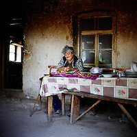"""Sveltlana, 57 years old, is a refugee from Baku. She lives with her husband Albert, 63, from pension. """"We live in such bad condition, my husband has done so much for Karabakh..."""" regrets Sveltlana from Shamasur village."""