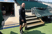 CARY, NC - SEPTEMBER 12: Head coach Mark Parsons of the Portland Thorns FC takes the field before a game between Portland Thorns FC and North Carolina Courage at Sahlen's Stadium at WakeMed Soccer Park on September 12, 2021 in Cary, North Carolina.
