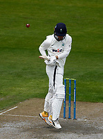 27th May 2021; Emirates Old Trafford, Manchester, Lancashire, England; County Championship Cricket, Lancashire versus Yorkshire, Day 1; Jordan Thompsonof Yorkshire gets an edge to a rising ball from Luke Wood of Lancashire and is caught by Keaton Jennings for 10 to leave Yorkshire on 40-7