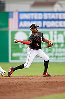 Batavia Muckdogs shortstop Demetrius Sims (3) throws to first base during a game against the Williamsport Crosscutters on June 22, 2018 at Dwyer Stadium in Batavia, New York.  Williamsport defeated Batavia 9-7.  (Mike Janes/Four Seam Images)