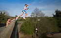 05/05/16 <br /> <br /> After a hot day in Derbyshire young lads cool off as they tombstone from a tree (with rusty metal at its base) and a bridge over the river Dove at Mappleton near Ashbourne in Derbyshire this evening.<br /> <br /> All Rights Reserved: F Stop Press Ltd. +44(0)1335 418365   +44 (0)7765 242650 www.fstoppress.com