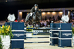 Simon Delestre of France riding Chadino competes in the Hong Kong Jockey Club Trophy during the Longines Masters of Hong Kong at the Asia World Expo on 09 February 2018, in Hong Kong, Hong Kong. Photo by Ian Walton / Power Sport Images