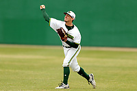 San Jacinto Gators outfielder Trent Franson (5) in action against the Bossier Parish Community College Cavaliers at Harrison Field on February 2, 2018 in Houston, TX. (Erik Williams/Four Seam Images)