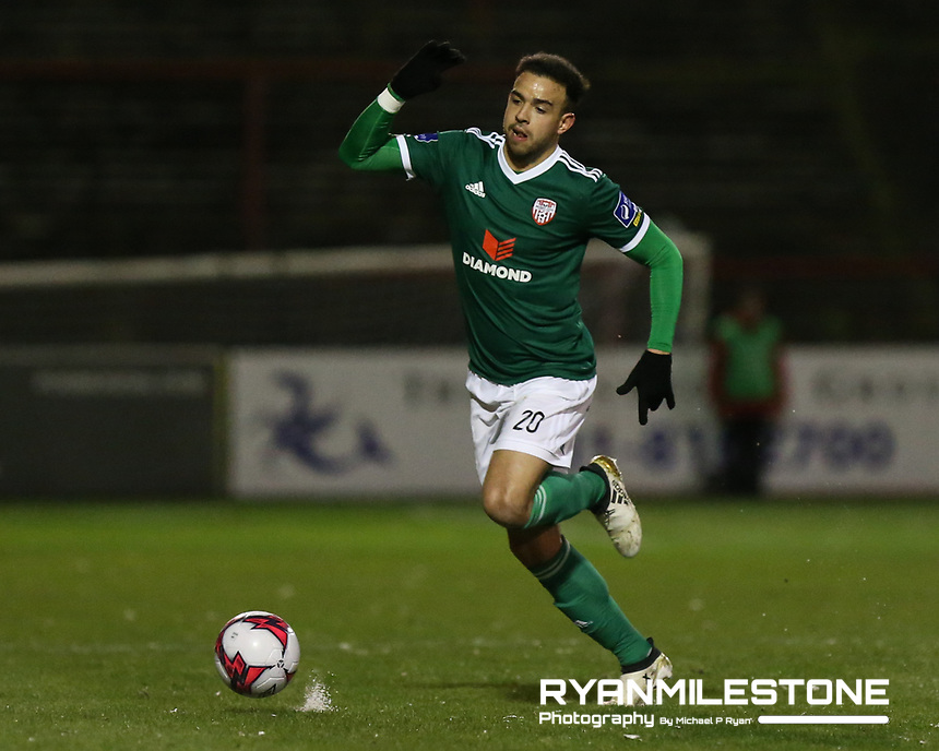 Darren Cole of Derry during the SSE Airtricity League Premier Division game between Bohemians and Derry City on Tuesday 27th February 2018 at Dalymount Park, Dublin. Photo By: Michael P Ryan