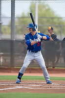 Los Angeles Dodgers outfielder James Outman (5) at bat during an Instructional League game against the Milwaukee Brewers at Maryvale Baseball Park on September 24, 2018 in Phoenix, Arizona. (Zachary Lucy/Four Seam Images)