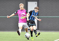 Aalst's Tiana Andries pictured in a duel with Debbie Decoene (21 Brugge) during a female soccer game between Club Brugge Dames YLA and Eendracht Aalst Ladies on the 9 th matchday of the 2020 - 2021 season of Belgian Scooore Womens Super League , saturday 12 December 2020  in Brugge , Belgium . PHOTO SPORTPIX.BE | SPP | DAVID CATRY