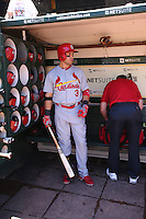 OAKLAND, CA - JUNE 29:  Carlos Beltran #3 of the St. Louis Cardinals stands in the dugout before the game against the Oakland Athletics at O.co Coliseum on Saturday June 29, 2013 in Oakland, California. Photo by Brad Mangin