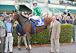 30 January 2009: Capt. Candyman Can, with Julien Leparoux in the saddle and trainer Ian Wilkes (right), after winning the 53rd running of the Grade 2 Hutcheson Stakes for three-year-olds at Gulfstream Park in Hallandale, Florida.