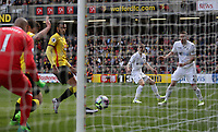 Gylfi Sigurdsson of Swansea City watches on as the ball narrowly misses the near post during the Premier League match between Watford and Swansea City at Vicarage Road Stadium, Watford, England, UK. Saturday 15 April 2017