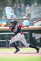 Esteury Ruiz (12) of the Lake Elsinore Storm bats against the Inland Empire 66ers at San Manuel Stadium on June 5, 2019 in San Bernardino, California. (Larry Goren/Four Seam Images)