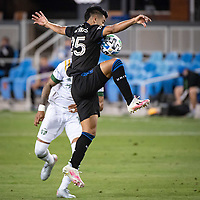 SAN JOSE, CA - SEPTEMBER 19: Andy Rios #25 of the San Jose Earthquakes during a game between Portland Timbers and San Jose Earthquakes at Earthquakes Stadium on September 19, 2020 in San Jose, California.
