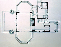 F.L. Wright: Hickox House, Kankakee, Ill., 1900. Floor plan.