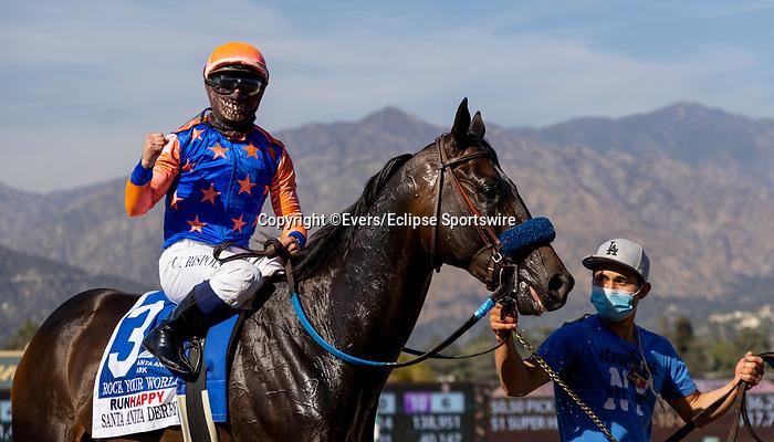 April 3, 2021: Umberto Rispoli celebrates winning the Santa Anita Derby aboard Rock Your World at Santa Anita Park in Arcadia, California on April 3, 2021. Evers/Eclipse Sportswire/CSM