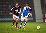 Hearts v St Johnstone.....05.03.13      SPL.Rowan Vine is tracked by Ryan Stevenson.Picture by Graeme Hart..Copyright Perthshire Picture Agency.Tel: 01738 623350  Mobile: 07990 594431