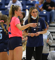 Cassie Loyd, head volleyball coach of Har-ber on Tuesday, October 12, 2021, during play at Wildcat Arena, Springdale. Visit nwaonline.com/211013Daily/ for today's photo gallery.<br /> (Special to the NWA Democrat-Gazette/David Beach)