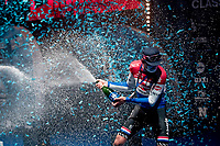3rd finisher Mathieu Van der Poel (NED/Alpecin-Fenix) receiving a champaign shower from his 2 better rivals<br /> <br /> 64th E3 Classic 2021 (1.UWT)<br /> 1 day race from Harelbeke to Harelbeke (BEL/204km)<br /> <br /> ©kramon