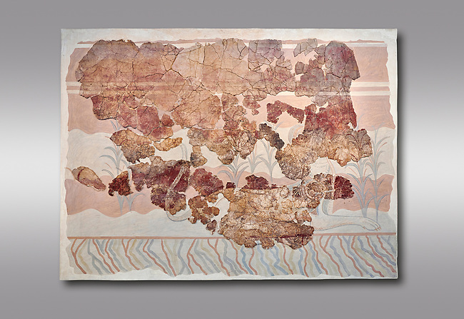 Minoan wall art fresco from the Throne Room of Knossos, 1450-1300 BC. Heraklion Archaeological Museum.  Grey Background. <br /> <br /> This Minoan fresco depicts griffins and palm trees